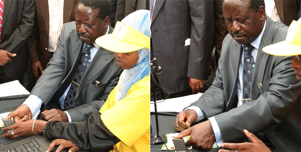 Raila Odinga registering to vote